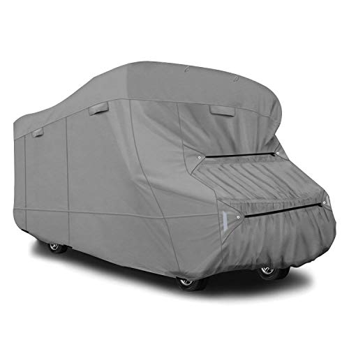 RVMasking Extra-Thick 5-ply Top Class C RV Cover Fits 26'-29' RVs - Breathable Waterproof Ripstop Anti-UV Class C Cover with 10 PCS Windproof Buckles & Adhesive Repair Patch