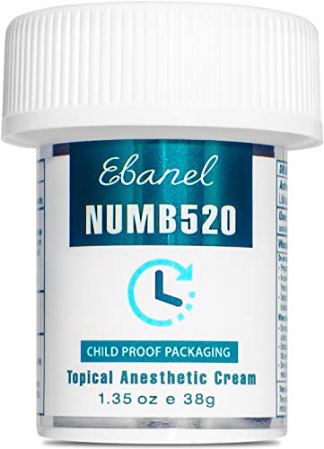 Ebanel 5% Lidocaine Topical Numbing Cream Maximum Strength, 1.35 Oz Pain Relief Cream Anesthetic Cream Infused with Aloe Vera, Vitamin E, Lecithin, Allantoin, Secured with Child Resistant Cap