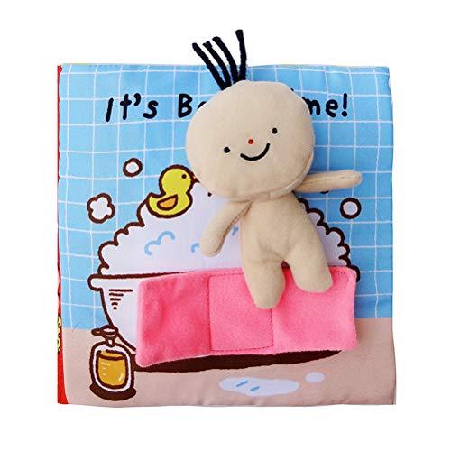 YeahiBaby Baby First Cloth Book Lavable Soft Fabric Toy Early Educational Preschool Books Juguetes educativos interactivos para bebés Niños pequeños (es Hora del baño)