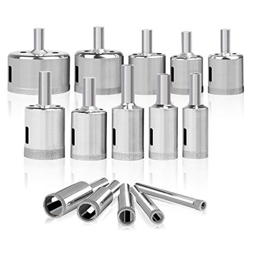 "Diamond Hole Saw, 15 pcs Diamond Drill Bit Set Extractor Remover Tools for Glass, Ceramics, Porcelain, Cermic Tile (1/4""-2"")"