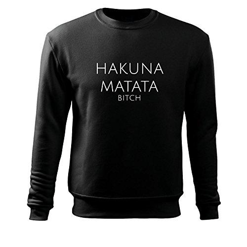 hakuna matata Sweatshirt Top Westen T Shirt alle Größen und Farben - Neu S - XXxL (95-Sweat-Schwarz-S)