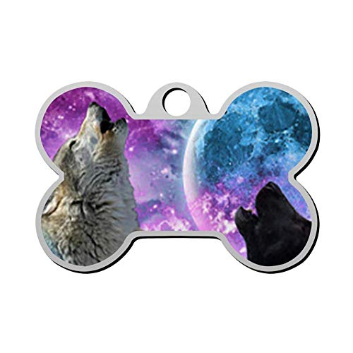 VinMea 3D Print Custom Pet ID Tags Personalized Front and Back Bone Shape Dog Tags & Cat Tags Galaxy Wolf