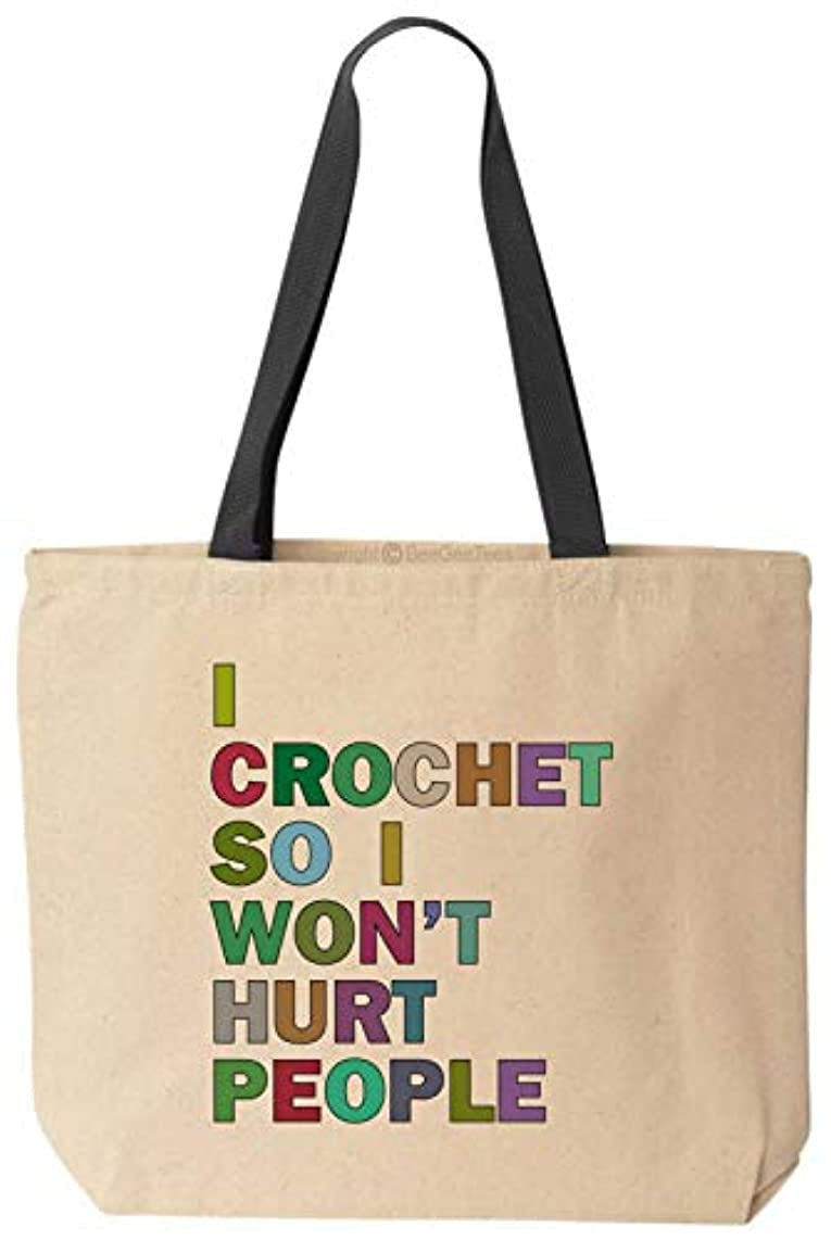 BeeGeeTees I Crochet So I Won't Hurt People Funny Tote School Office Canvas Reusable Grocery Shopping Crocheting Bag
