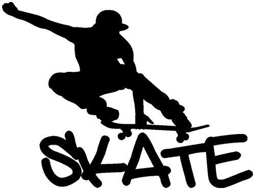 Samunshi® Wandtattoo Skate Skateboard Wandaufkleber in 10 Größen und 19 Farben (40x30cm schwarz)