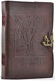 Tree of Life Leather Blank Book with Lock 7x10
