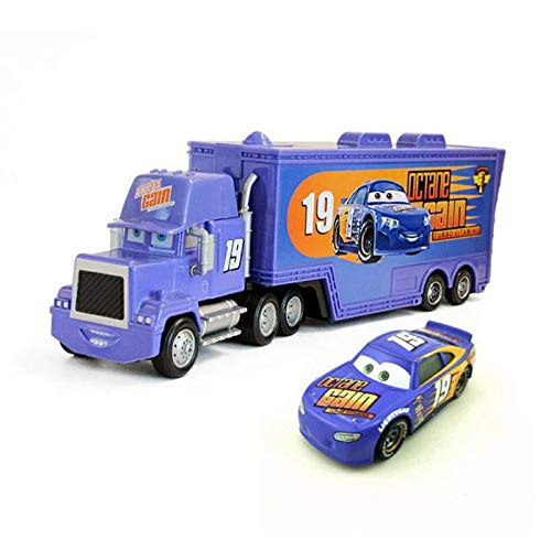 Cars 3 Toys #19 Bobby Swift Mack Hauler Truck and Racer Diecast Toy Car 1:55 Loose Kids Vehicle Speed Racers (#19 Mack Truck & Racer)