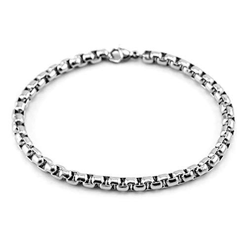Armband Armreif,Schmuck Geschenk, Men Stainless Steel Bracelet 3/4/5Mm Square Rolo Chain Bracelet Bangle Women for Men Gift Whosale 4mm 15cm