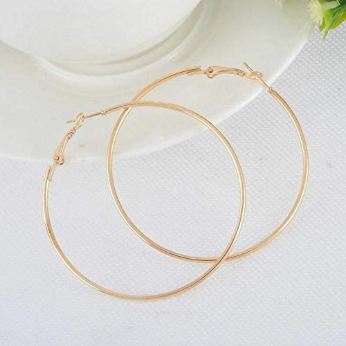 New Classic Gold Smooth & Shiny Thin Large 2'' Round Hoop Earrings