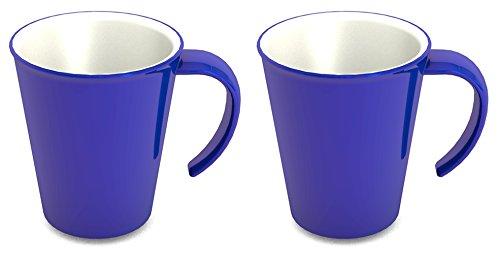 Ornamin Kaffeepott 300 ml blau, 2er-Set (Modell 1201) / Kaffeebecher, Mehrwegbecher Kunststoff