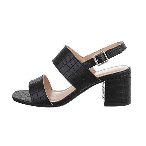 Ital-Design Damenschuhe Sandalen & Sandaletten High Heel Sandaletten, 5075-, Kunstleder, Schwarz, Gr. 37
