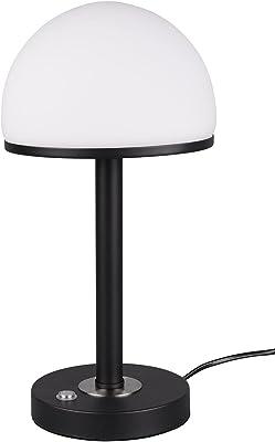Trio Leuchten Lampe de table LED Berlin 527590132 - En métal noir mat et verre blanc - 4 touches tactiles