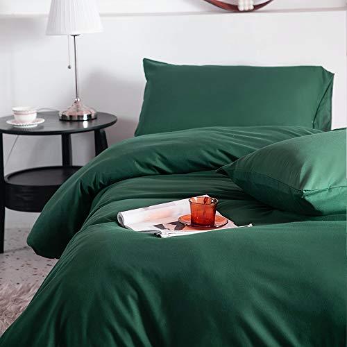 CoutureBridal Bettwäsche 200x200cm Dunkelgrün Grün Uni Bettwäsche Set Gebürstet Microfaser Weich Deckenbezug Doppelbett Bettbezug mit Reißverschluss und 2 Kissenbezüge 80x80cm