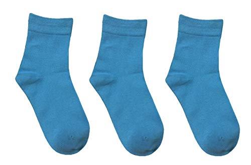 Rambutan Kids (3 Pack) Comfort Seam Plain Color Bamboo School Socks (13-2, Light Blue)