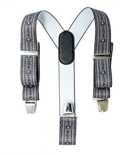 Swiss made. Hosenträger Y-Design Lederrücken Metallclip (Edelweiss mit Sennenmuster, anthrazit)