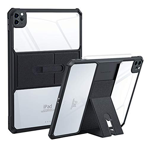 HaoHZ Case for Ipad Pro 11 2020, Ultra Slim Clear Protective Back Cover with Magnetically Adjustable Stand, Shock Absorption Soft TPU Edge Bumper,Black