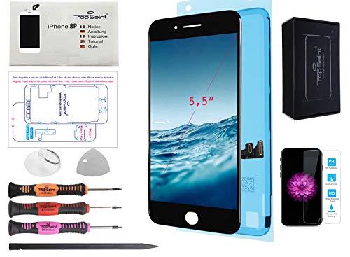 Trop Saint Pantalla Negro para iPhone 8 Plus - Premium Kit de reparación LCD con Guía, Herramientas y Pegatina Adhesiva Impermeable