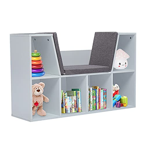 Kids Book Reading Nook Bookshelves - Wooden Bookcase for Kids Room 6-Cubby Multi Purpose Storage Organizer with Cushion for Children Girls & Boys Bedroom Decor Room, White