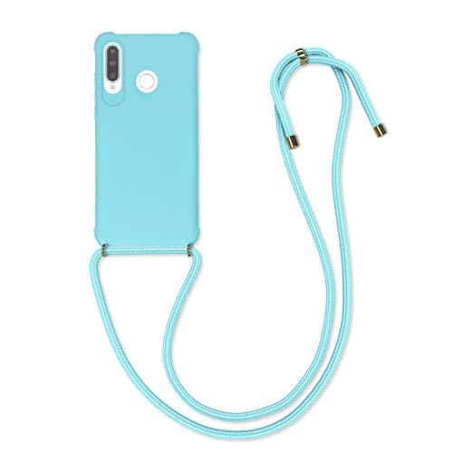 kwmobile Hülle kompatibel mit Huawei P30 Lite - mit Kordel zum Umhängen - Silikon Handy Schutzhülle Hellblau