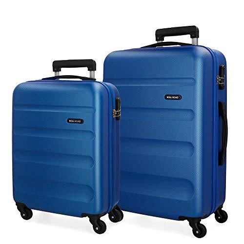 Roll Road Flex Juego de maletas Azul 55/65 cms Rígida ABS Cierre combinación 91L 4 Ruedas Equipaje de Mano