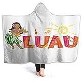 JISMUCI Manta con Capucha,Chica Colorida Bailarina de Hula con Ukelele y Letras de Fiesta,Suave Siesta ponible Mantas de Viaje/Vacaciones/Casual 80x60
