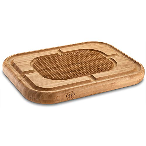 Bambusi Large Butcher Block Cutting Board - Bamboo Chopping Block with Juice Groove - Reversible 17 x 13 x 1.5 Inch Wood Serving Tray with Spikes, Stabilizes Meat While Carving
