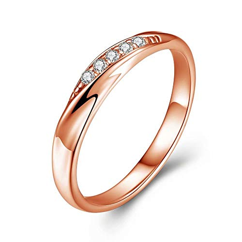 愛の言葉 レディースリング スワロフスキージルコニア レディース指輪 純銀製指輪 高級感 キラキラ 結婚指輪 婚約指輪 専用ボックスつき (ピンクゴールド11号)