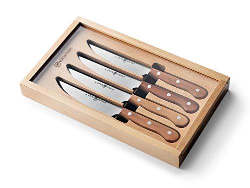 Wüsthof Steak Set, 4-teilig, Steak Messerset, Griffe aus Pflaumenholz, rostfreier Edelstahl, sehr scharf