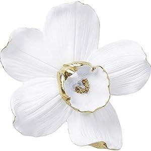 Kare Design Wandschmuck Orchid Weiß 25cm, weißes Accessoire für die Wand, Blumen Motiv Weiß Gold, weitere Ausführungen erhältlich (H/B/T) 24,5x23,8x6,7