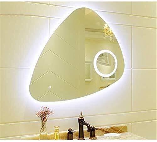 JIANGLI Montado en la Pared Espejo de baño, luz de Fondo sin Bordes Dresser Pared Espejo, Espejo con Lupa y botón del Tacto