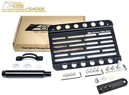 Replacement for 2006-Present Aston Martin V8 Vantage | EOS Plate Version 1 Front Bumper Tow Hook License Plate Relocator Mount Bracket with Lowering Extension Adapter Tow-294-L (Mid Size)