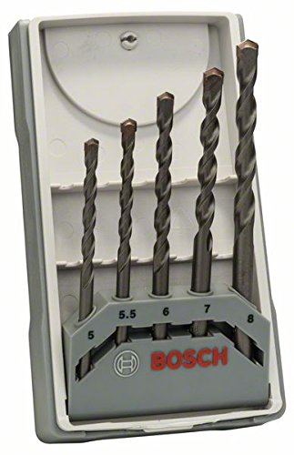 Bosch 2 607 017 081 - Juego de 5 brocas para hormigón CYL-3-5; 5,5; 6; 7; 8 mm (pack de 5)