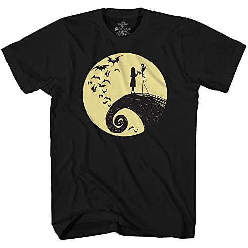 Disney Nightmare Before Christmas Jack Sally Moon T-Shirt (Black,Large)