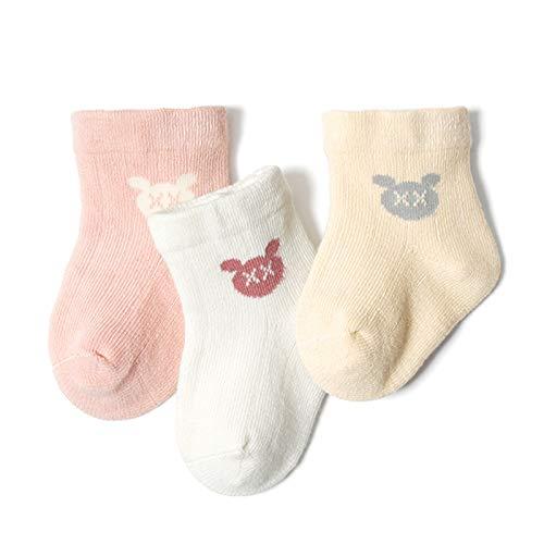 LUO Calcetines Calcetines para niños pequeños Antideslizantes para niños, Transpirables y absorbentes de Sudor, Calcetines de Piso de hogar, niños y niñas de 0 a 5 años, 3 Pares