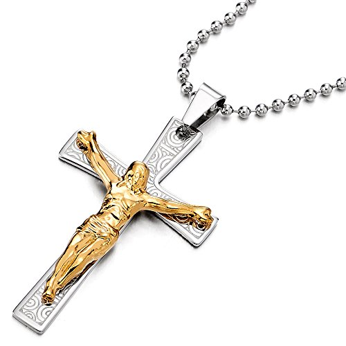 COOLSTEELANDBEYOND Grande Jesucristo Crucifijo Cruz, Collar con Colgante de Hombre, Cruce, Acero...