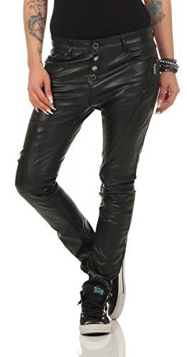 Fashion4Young 5285 Damen Jeans Röhrenjeans Hose Damenjeans Boyfriend Baggy Harems Jeans (XS=34, schwarz-Wet)