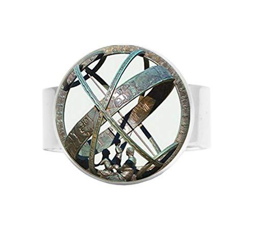 bab Tronomische Sonnenuhr Globus Anhänger Astronomie verstellbar Ring Schmuck