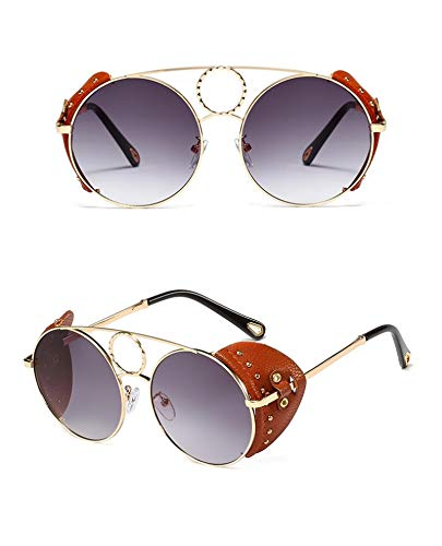 Astemdhj Gafas de Sol Sunglasses Gafas De Sol Steampunk De Metal Redondo Dorado De Lujo para Mujer, Gafas De Sol Góticas para Mujer, Gafas De Sol Retro Vintage A La Moda para HombAnti-UV