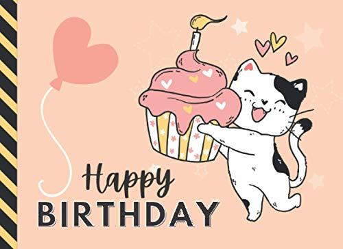 Happy Birthday: Cartoon Kitty Cat Holding Cupcake Theme on Peach / Blank Birthday Coupon Book / 50 Empty Voucher Templates in Booklet / Fun Creative Gift Idea for Kids Tweens Teens