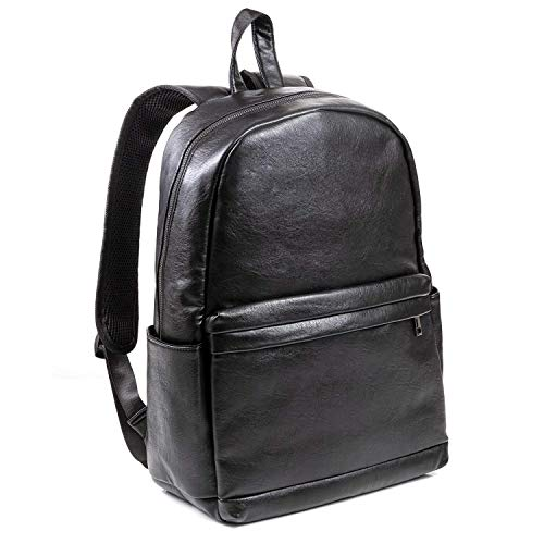 Premium PU Black Leather Backpack for Men ? Iconic Vintage Designer LINE - Large Padded Interal Laptop Protector ? Superior Lifetime Durable Vegan Utility Backpack - Professional, Travel, Student Use