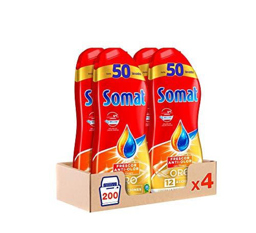 Somat Oro Detergente para Lavavajillas, Gel con Vinagre y Frescor Anti-olor, 50 Dosis - Pack de 4, Total: 200 lavados (3.6 L)