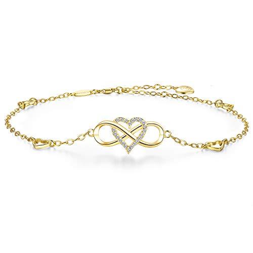 BlingGem Bracelet de Cheville pour Femme en Argent 925 Plaqué Or Infinity Coeur Charm Zircon Ensemble pour Toujours Amour Cheville Cadeau Fille