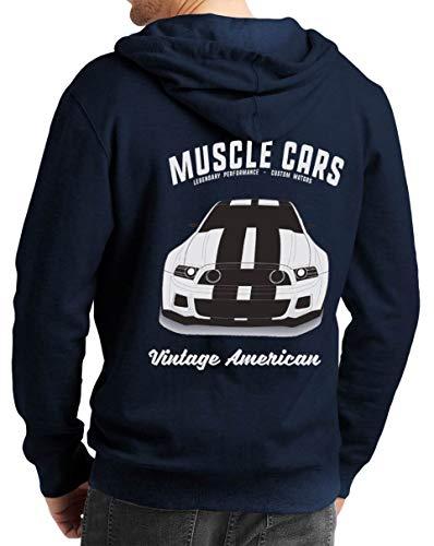Herren Zip Hoodie Sweat-Jacke mit Kapuze Kapuzen-Jacke Winter mit Motiv Bedruckt Hot-Rod US-Car Amerika Mustang Challenger Muscle-car V8 Mustang Vintage America Blau M