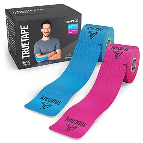 TRUETAPE® Basic - Kinesiotapes vorgeschnitten | Duopack | wasserfestes & elastisches Kinesiologie Tape | hautfreundlich | 2x 20 Precut-Streifen á 25cm x 5cm | Pink & Blau