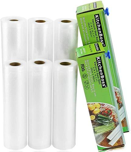 KitchenBoss Vakuumrollen mit Cutter-Box, 6 Rollen 20x500cm und 15x500cm Folienrollen BPA-Frei für alle Vakuumierer, stark & reißfest & wiederverwendbar Vakuumbeutel für Sous Vide
