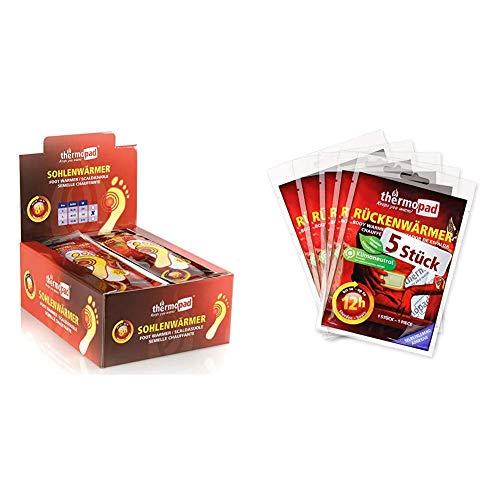 Thermopad Sohlenwärmer Gr. L (40-42) – DAS ORIGINAL: 30 Paar Wärmepads für 8 Stunden Wärme & Rückenwärmer – DAS ORIGINAL: 5 x Wärmepads für 12 Stunden Wärme I Sofort einsatzbereite Pads