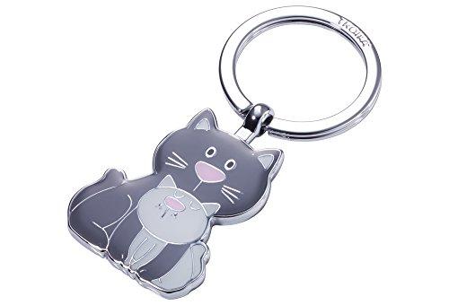 TROIKA CAT & KITTY – KR18-04/GY – Schlüsselanhänger – Katze, Kätzchen - Meow - Miau – Metallguss/Emaille– glänzend – verchromt – dunkelgrau, hellgrau – TROIKA-Original