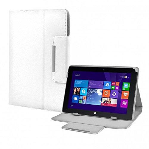 eFabrik Tasche für TrekStor Volks-Tablet SurfTab wintron 10.1 3G Volks-Tablet 3 Hülle Zubehör Schutzhülle mit Aufsteller Leder-Optik weiß