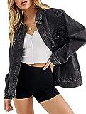 Jean Jacket Women Oversized Denim Jacket for Women Trucker Jacket (Black Washed, M)