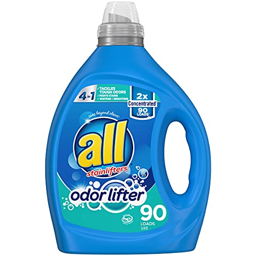 all with stainlifters Odor Lifter, Laundry Detergent Liquid, 2X Concentrated, Tackles Tough Odors for Super Sporty Families, 90 Loads