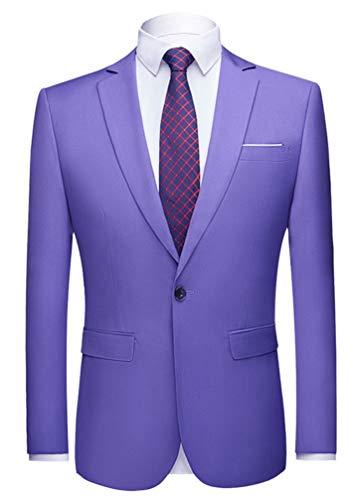 Men's Peak Lapel Lavender Blazer One Button Tuxedo Jacket Prom Party Jacket Wedding Dinner Coat Casual Coat Lavender 46 Chest / 40 Waist